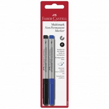 FABER CASTELL Folienstift Set MULTIMARK non-permanent F blau + schwarz