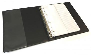 VELOFLEX Taschenringbuch 1164 A6 4-Ring 13mm schwarz mit 50 Blatt Einlage