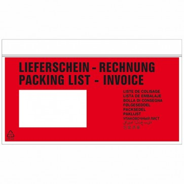 DEBATIN Begleitpapiertaschen UNIPACK DIN lang mit Druck Lieferschein/Rechnung 1000 Stück
