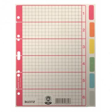 LEITZ Kartonregister Blanko A5 6-teilig grau mit Farbtab