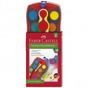 FABER CASTELL Deckfarbkasten Connector 12 Farben rot