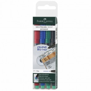 FABER CASTELL Folienstift MULTIMARK permanent F 0,6mm 4 Farben