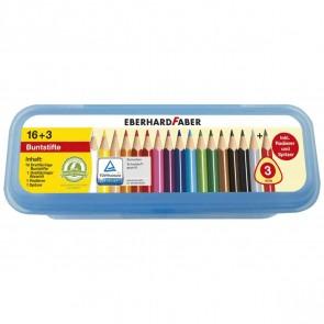 EBERHARD FABER Buntstift Box 16+3 dreikant 16 Farben + Bleistift + Radierer + Spitzer