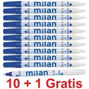 MILAN Tintenlöscher Tintenkiller Keilspitze 1-4mm 10 + 1 Sparpack