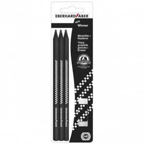 EBERHARD FABER Bleistifte 6x Bleistifte -SPARPACK- + Radierer GRATIS