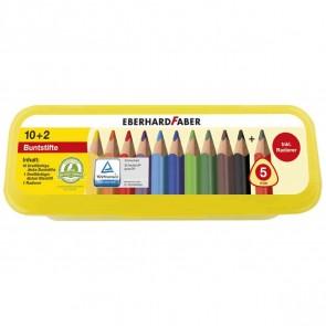 EBERHARD FABER Buntstift Box JUMBO 10+2 dreikant 10 Farben + Bleistift + Radierer