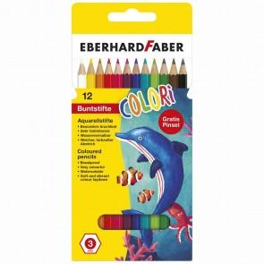 EBERHARD FABER Aquarell Farbstift 12 Farben + Pinsel GRATIS