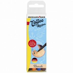 EBERHARD FABER Tattoo Marker Set BEACH 4 Farben + Schablonen GRATIS