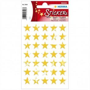 HERMA Sticker 3998 Sterne 8mm gold Prismatic 1 Blatt = 35 Aufkleber
