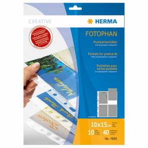 HERMA Postkartenhülle 7695 A4 PP, auf A6 (10x15cm) 10 Blatt