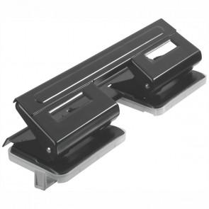 HERLITZ Doppel-Locher Metall 4-Loch bis 15 Blatt schwarz mit Anschlagschiene