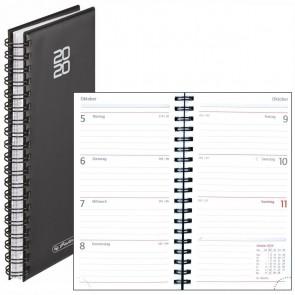 HERLITZ Spiralkalender 9x16,5cm schwarz 2021 1 Woche = 2 Seiten 144 Seiten