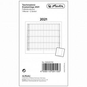 HERLITZ Ersatzeinlage 2021 für Faltkalender 87x153mm 1 Monat = 2 Seiten