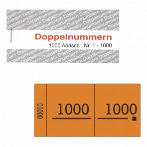 Doppelnummernblock orange  1-1000