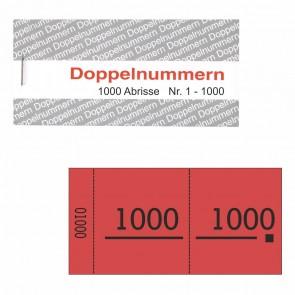 Doppelnummernblock rot  1-1000