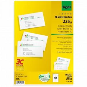 SIGEL Visitenkarten LP795 3C 85x55mm 225g weiß 100 Stück glatter Schnitt