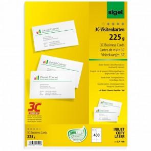 SIGEL Visitenkarten LP796 3C 85x55mm 225g weiß 400 Stück glatter Schnitt