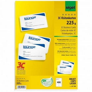 SIGEL Visitenkarten LP799 3C 85x55mm 225g weiß 400 Stück abgerundete Ecken glatter Schnitt