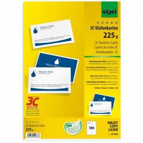 SIGEL Visitenkarten LP850 3C 85x55mm 225g weiß 100 Stück glatter Schnitt beidseitig bedruckbar