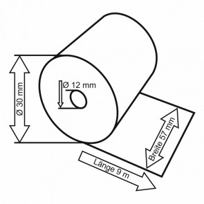 VEIT Thermo Kassenrolle 57mm x 30mm x 12mm 9m, 5 Stück