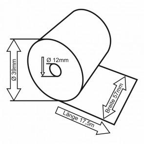 VEIT Thermo Kassenrolle mit EC Druck 57mm x 39mm x 12mm