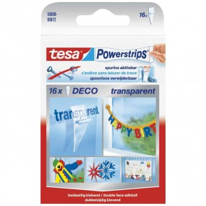 TESA Powerstrips DECO 58800  bis 200g transparent 16 Stück