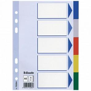 ESSELTE Register 15264 A5 Kunststoff farbig 5-teilig