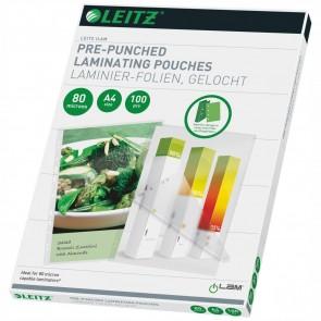LEITZ Laminierfolie 16918 A4 80mic glänzend mit Abheftstreifen 100 Stück