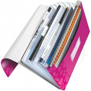 LEITZ Fächermappe 4589 WOW A4 PP 6 Fächer pink metallic
