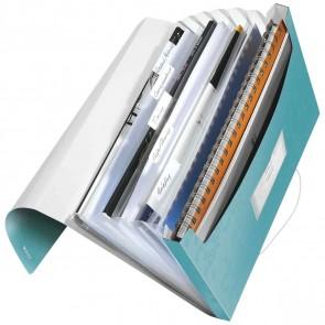 LEITZ Fächermappe 4589 WOW A4 PP 6 Fächer eisblau metallic