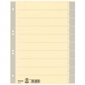 ESSELTE Trennblätter 621023 A4 chamois Tab grau 230g 100 Stück