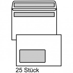 MAILMEDIA Briefumschlag C6 mit Fenster selbstklebend weiß 25 Stück