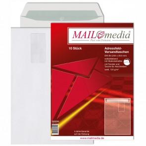 MAILMEDIA Versandtasche B4 mit Fenster haftklebend weiß 120g 10 Stück