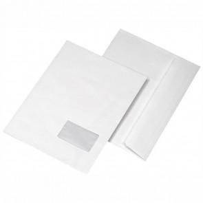 MAILMEDIA Faltentasche C4 20mm mit Fenster 120g haftklebend weiß Einschub quer 250 Stück