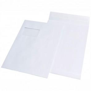 MAILMEDIA Faltentasche C4 20mm mit Fenster haftklebend weiß 120g
