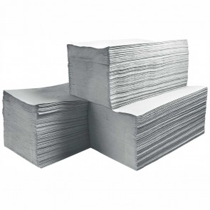 5000 Stück Einweghandtuch / Papierhandtuch 1-lagig naturgrau 25x23cm Z-Falz