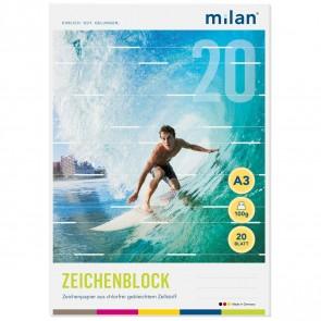 MILAN Zeichenblock 563/20 A3 20 Blatt 2seitig perforiert 100g