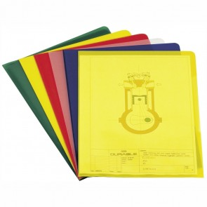 DURABLE Sichthüllen A4 PP je 25 St. gelb, rot. grün, blau 0,12mm glasklar