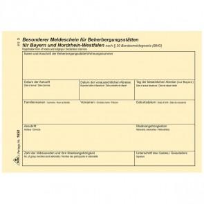 RNK Fremdenmeldeblock / Meldeschein Beherbergungsstätten 1650 A6 für Bayern + NRW 100 Blatt