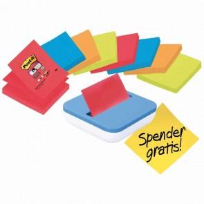 POST-IT Haftnotizen Super Sticky Z-Notes 8 Blöcke + Spender GRATIS