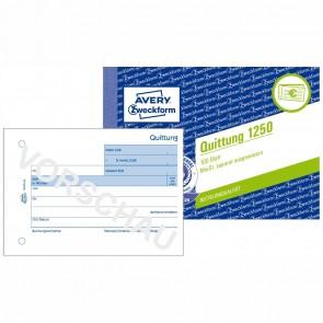 AVERY Quittung 1250 mit MwSt. A6 100 Blatt Recyclingpapier