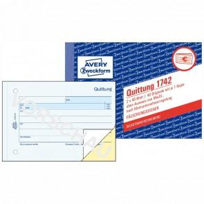 AVERY Quittung 1742 A6 incl. MwSt. 2x40 Blatt selbstdurchschreibend für Kleinunternehmer