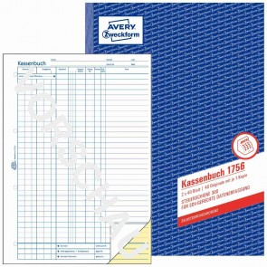 AVERY Kassenbuch 1756 A4 EDV Steuerschiene 300 2x40 Blatt selbstdurchschreibend