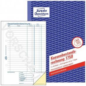 AVERY Kassenbericht 1758 A5 2x40 Blatt selbstdurchschreibend