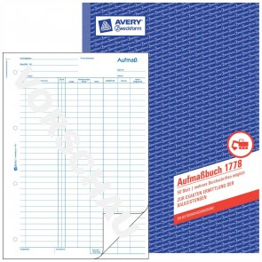 AVERY Aufmaßbuch 1778 A4 selbstdurchschreibend 50 Blatt
