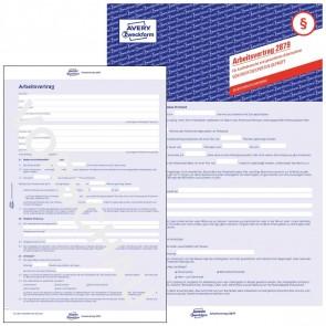 AVERY Arbeitsvertrag 2879 A4 3-seitig kaufmännisch + gewerblich selbstdurchschreibend