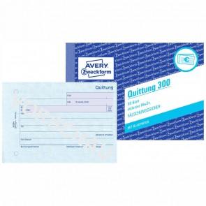 AVERY Quittung 300 A6 incl. MwSt. 50 Blatt mit Blaupapier
