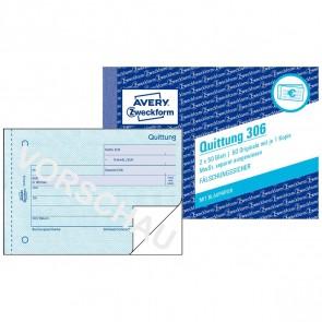 AVERY Quittung 306 A6 mit MwSt. 2 x 50 Blatt mit Blaupapier