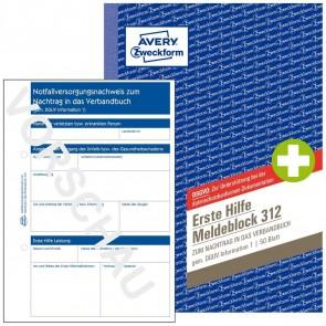 AVERY Erste Hilfe Meldeblock 312 A5 50 Blatt