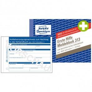AVERY Erste Hilfe Meldeblock 313 A6 50 Blatt